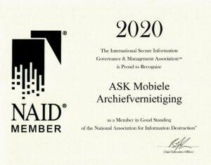 Certificaat archiefvernietiging 2020