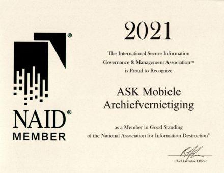 Garantie certificaat archiefvernietiging